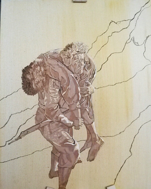 sam carrying frodo - oil paint - art - underpainting - lord of the rings