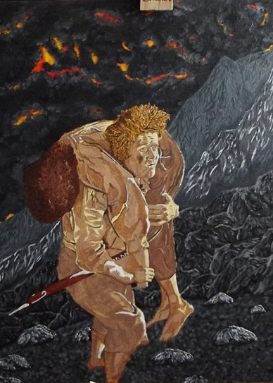 Sam Carrying Frodo - Art - LOTR - the lord of the rings - painting