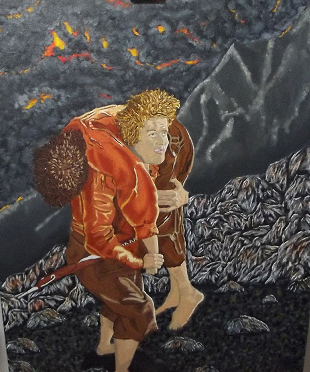 sam carrying frodo - oil painting - art - lotr - lord of the rings art