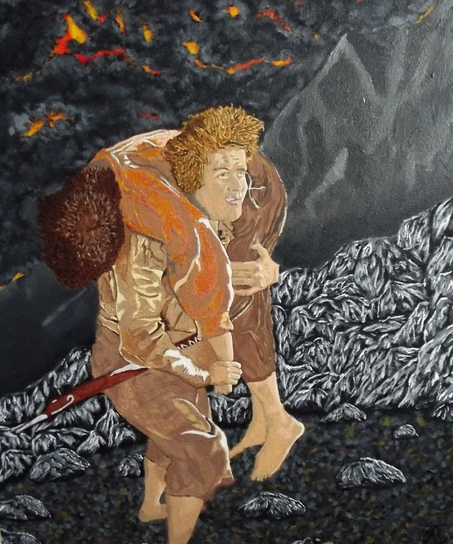 sam carrying frodo - wip - oil painting - lord of the rings art