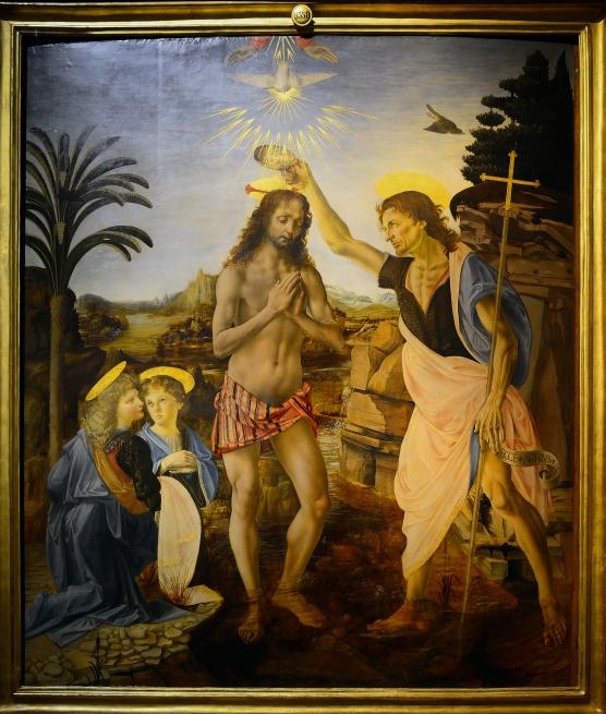 Baptism of christ leonardo da vinci