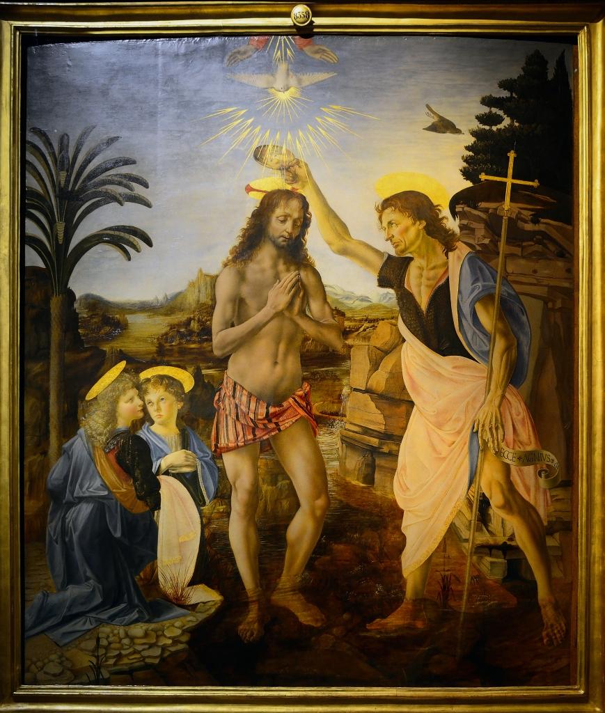 Andrea del Verrocchio and Leonardo da Vinci - The Baptism of Christ - 1472-75 - Oil Painting - Verocchio's Workshop -