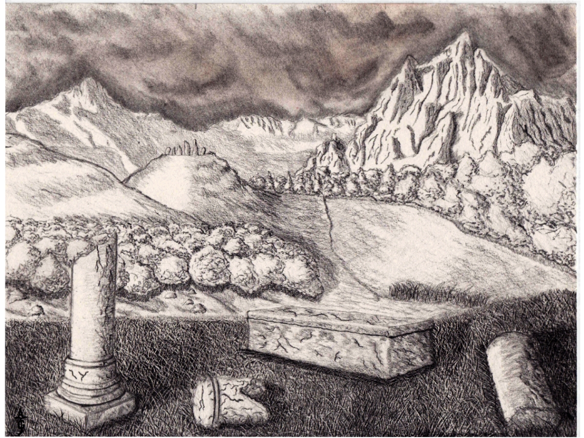 Merlin's Resting Place - Concept Art - Sketch - Drawing - Fantasy - J Glover - Fine Art