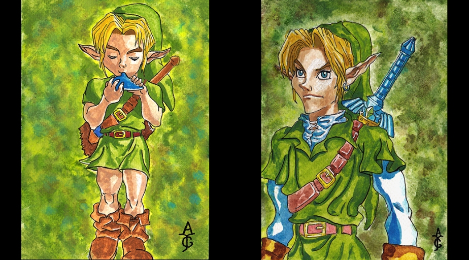 Legend-of-Zelda-Zelda-Art-Artwork-Painting-Sketch-Drawing-Illustration-Watercolour-Watercolor-Link-Ocarina-of-Time-Fine-Art-Fantasy-History-VideoGame-Gaming-Games