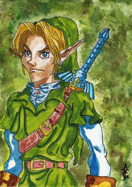 Legend of Zelda-Zelda-Art-Artwork-Painting-Sketch-Drawing-Illustration-Watercolour-Watercolor-Link-Ocarina of Time-Fine Art-Fantasy-History-VideoGame-Gaming-Games