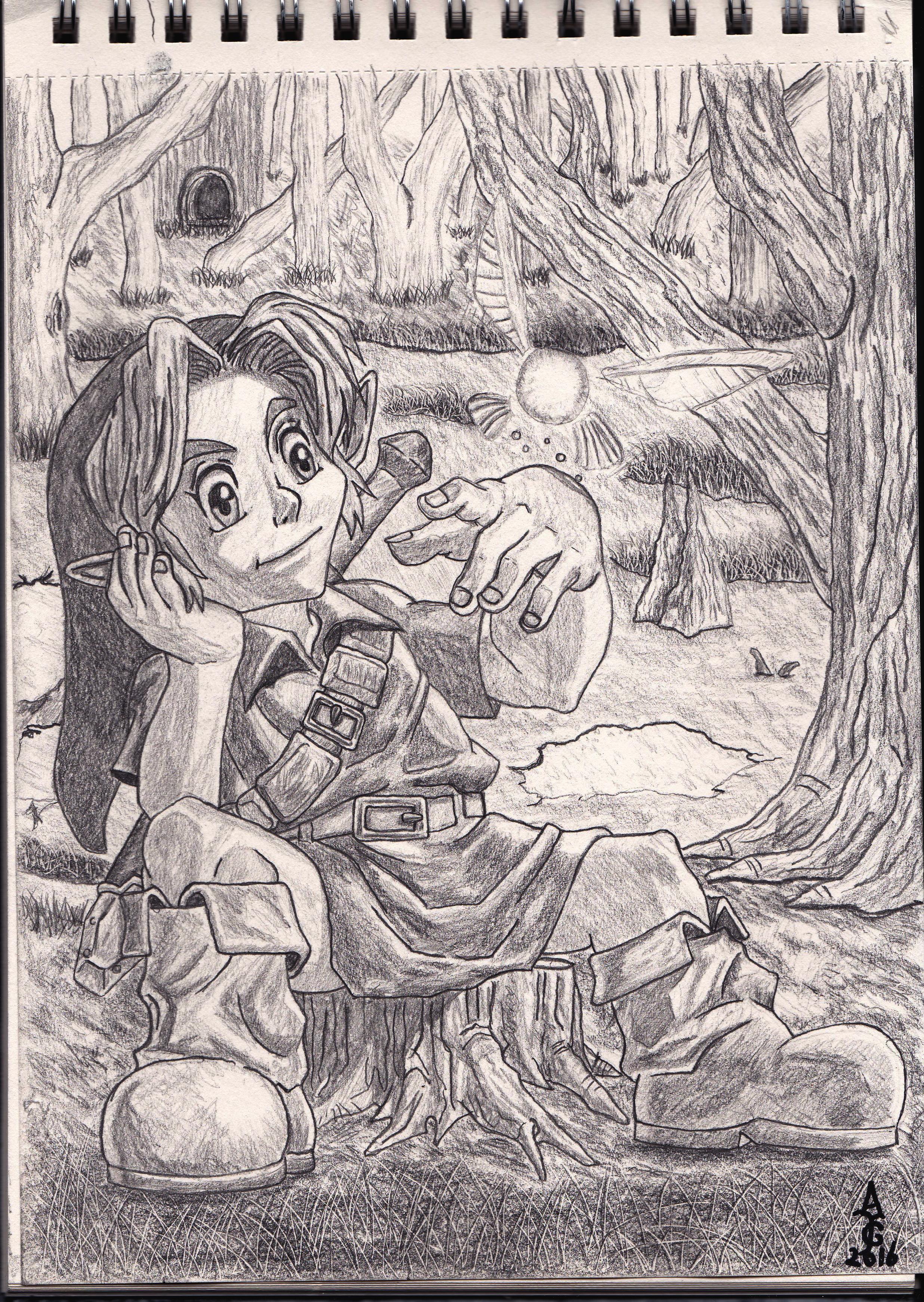 link sitting with navi in the lost woods legend of zelda ocarina of time art artwork illustration sketch fantasy artist