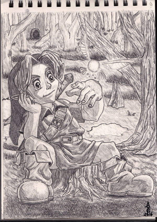 link sitting with navi in the lost woods legend of zelda ocarina of time art artwork illustration sketch fantasy artist