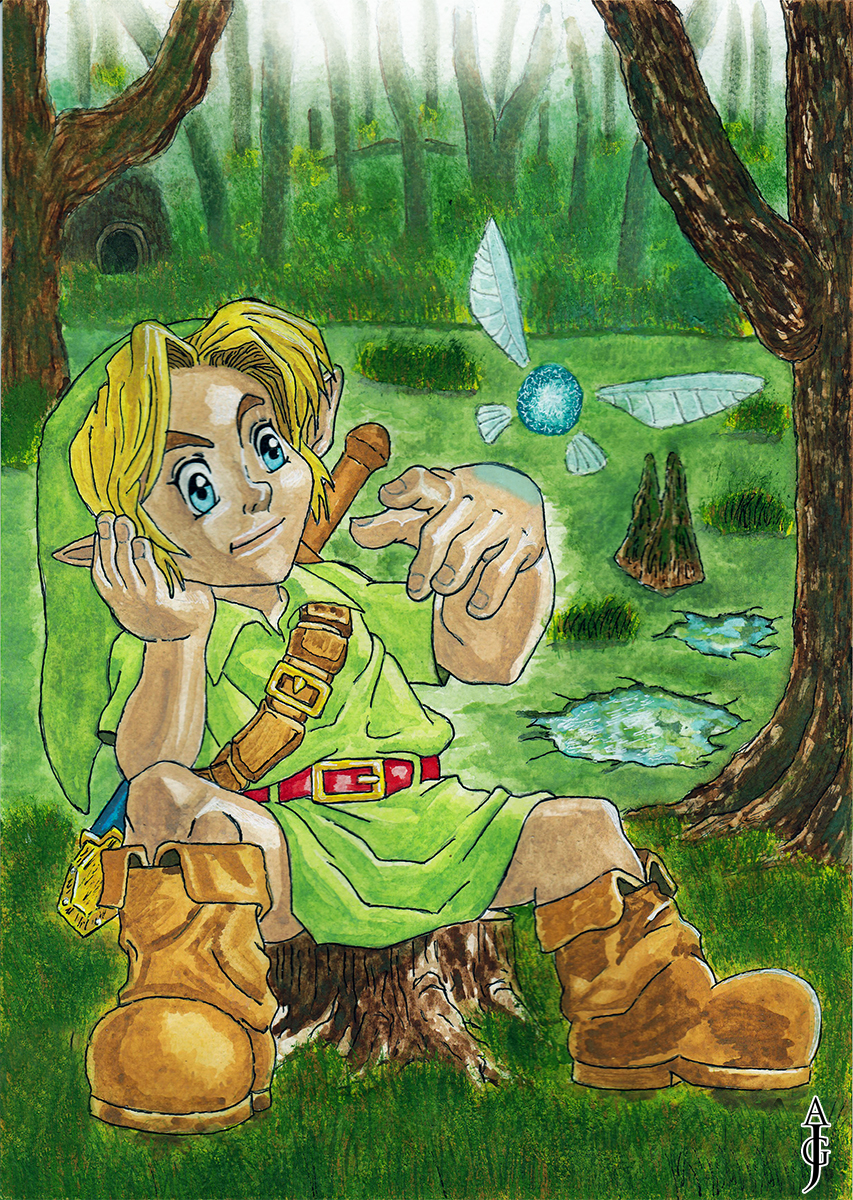 link in the lost woods painting legend of zelda fan art fantasy watercolour watercolor kokiri ocarina of time inktober