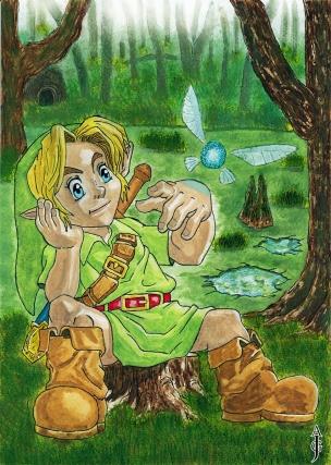 link in the lost woods painting legend of zelda fan art fantasy watercolour watercolor kokiri ocarina of time inktober