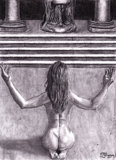 nude woman kneeling praying worship worshiping ancient religion art fantasy charcoal drawing illustration
