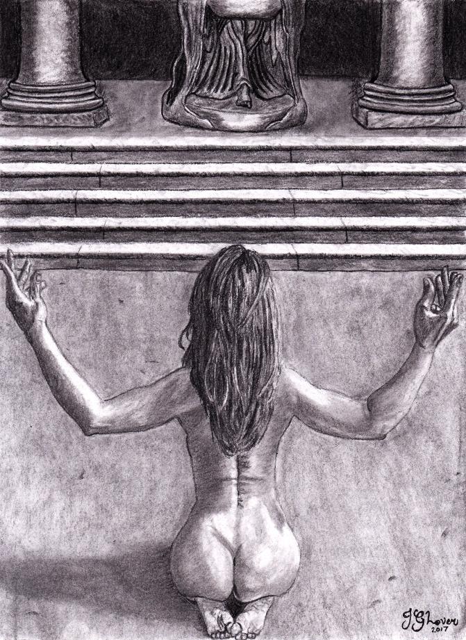 nude woman kneeling praying worship worshiping ancient religion art fantasy charcoal drawing illustration