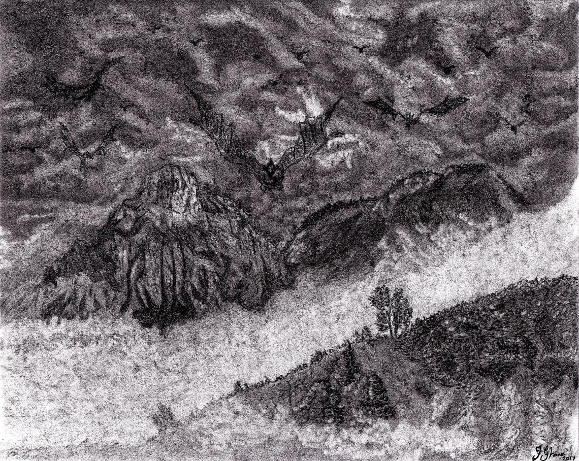 Dragon Dragons in flight flying over landscape mountains fantasy art illustration drawing sketch