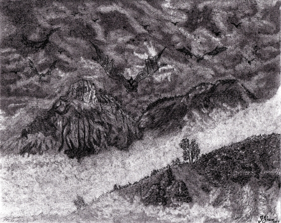 Dragon Dragons in flight flying over landscape mountains fantasy art illustration drawing sketch