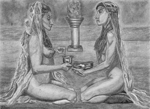 art illustration nude female figures worship religion drawing fantasy art