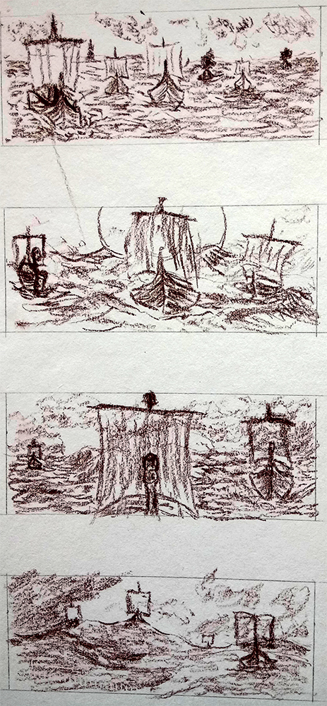 Viking Longships at Sea Invasion Fleet Sketch Drawing Fantasy History Art Norse Mythology
