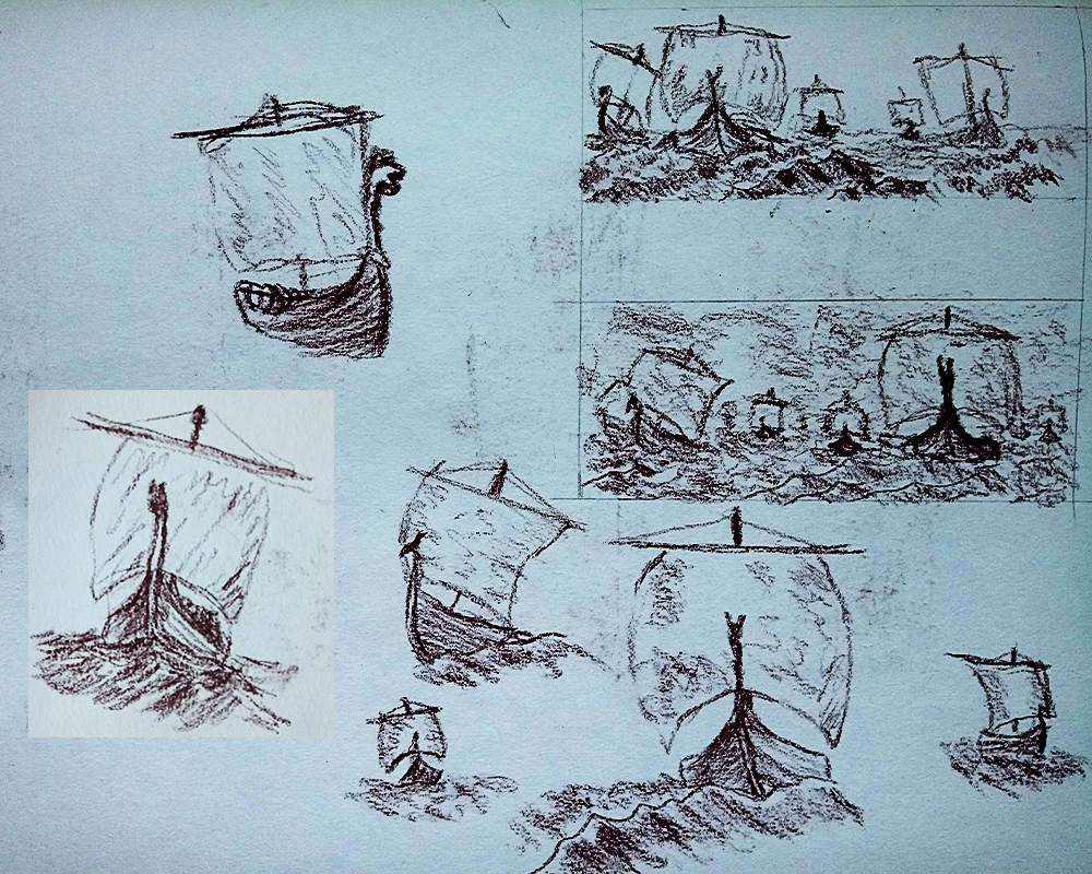 Viking Long Ships Long Boats at sea sketch drawing fantasy history art illustration