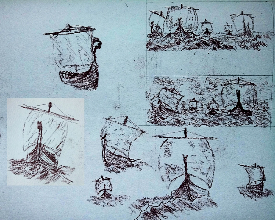 Viking Long Ships Long Boats at sea sketch drawing fantasy history art illustration