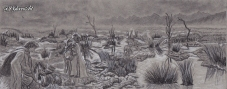 Passage of the Marshes - Charcoal on Strathmore 400 Toned Paper - 20cm x 8cm