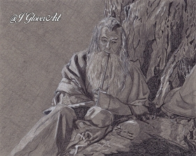 Gandalf the grey pilgrim wanderer wizard mage magi fantasy art drawing portrait lotr lord of the rings hobbit j glover art illustration fantasy