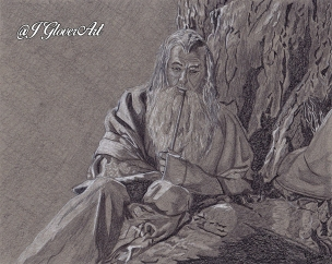 Gandalf the grey pilgrim wanderer wizard mage magi fantasy art drawing portrait lotr lord of the rings hobbit j glover art illustration fantasy