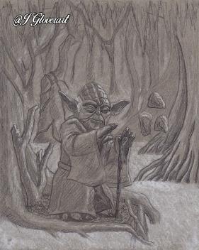 jedi master yoda on dagobah meditating force awakens last jedi star wars fan art drawing illustration scifi fantasy