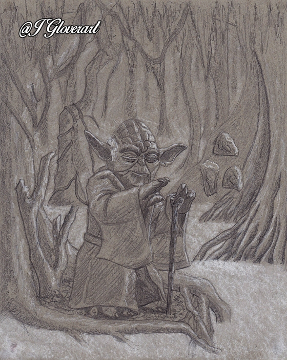 jedi master yoda on dagobah meditating force awakens last jedi star wars fan art drawing illustration scifi fantasy