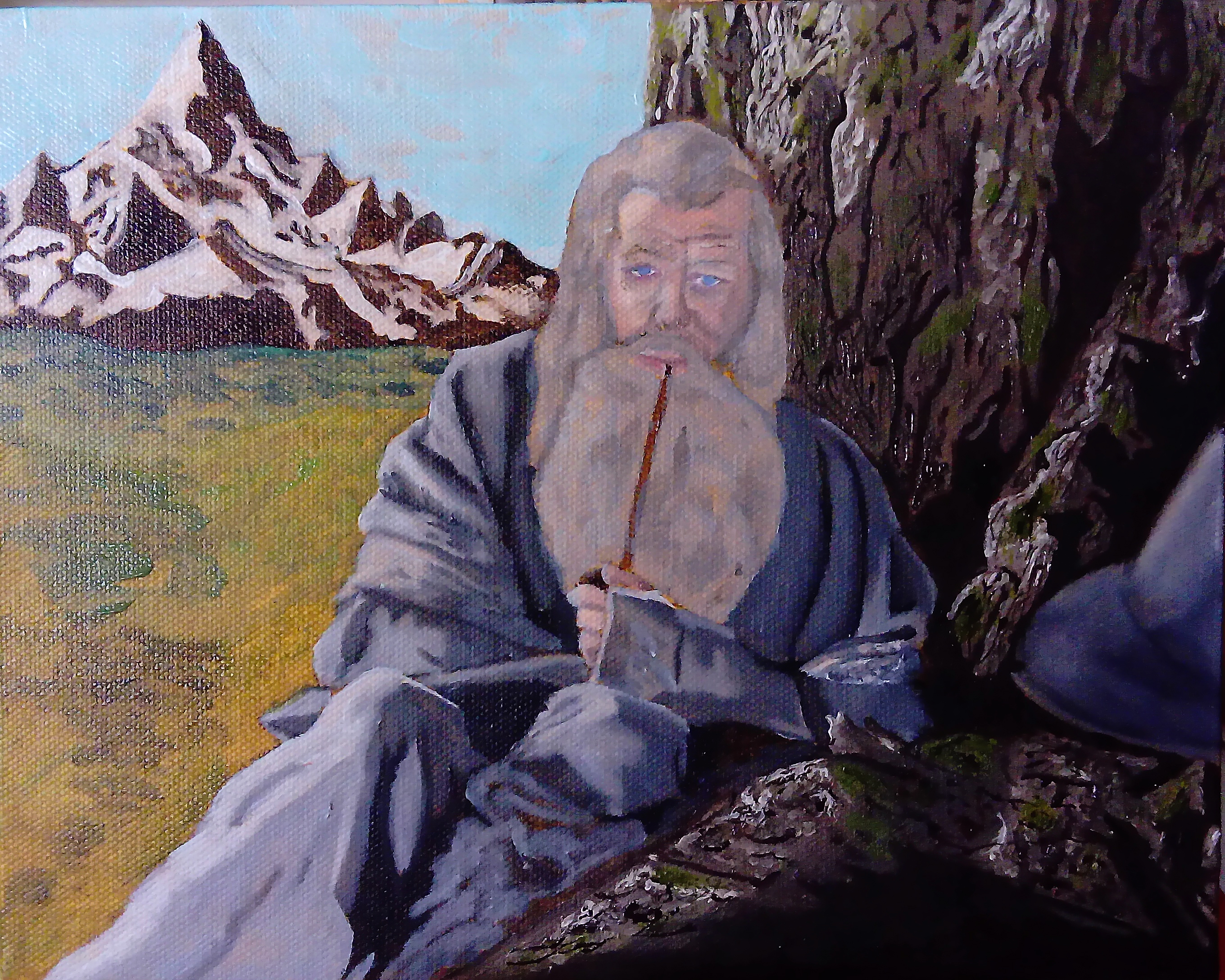 Gandalf the grey pilgrim wizard lotr lord of th rings art illustration oil painting concept art tolkien story