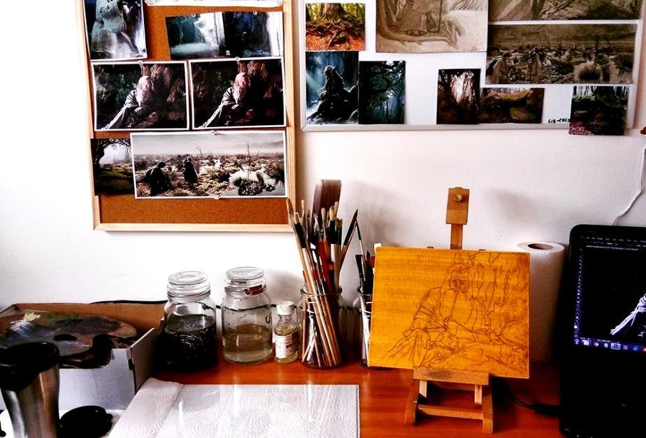 Gandalf oil painting studio shot behind the scenes