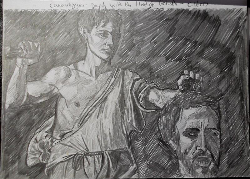 Master Study Sketch - Caravaggio - David with the Head of Goliath