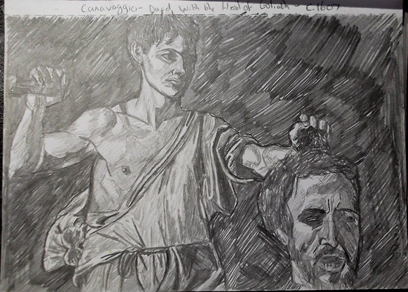 Master Study Sketch - Caravaggio - David with the Head of Goliath