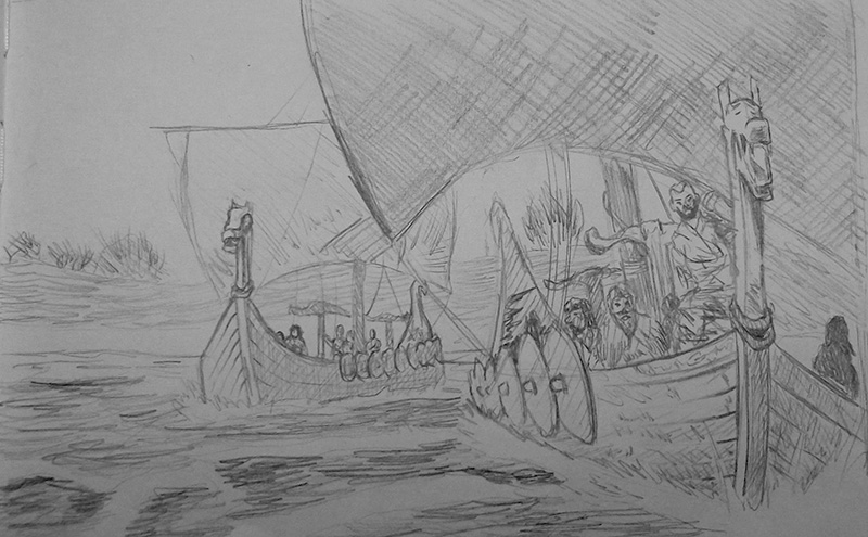 Viking Ships Sketch