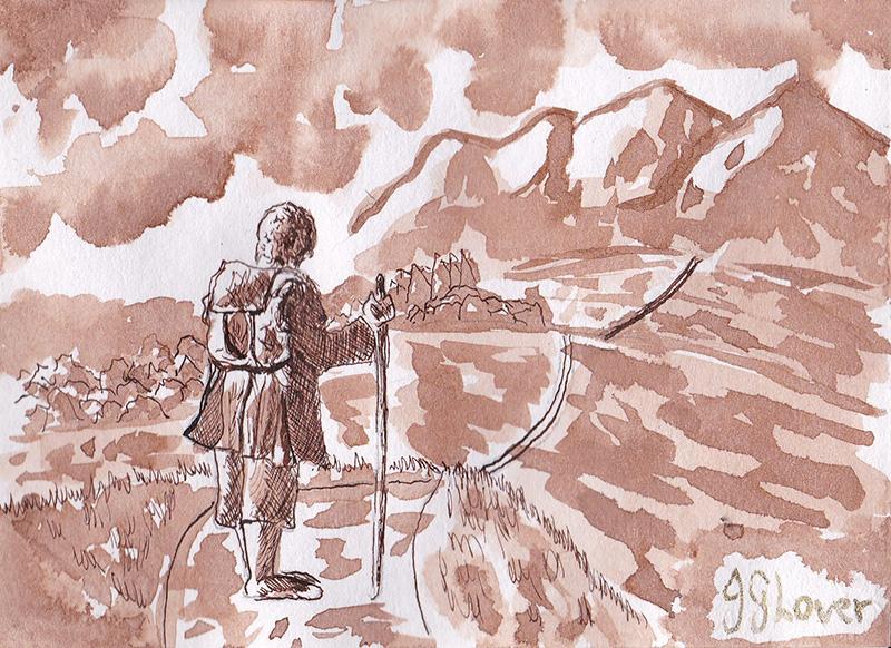 Ink sketch giveawya bilbo baggins lotr art collection collect tolkien drawing josh glvoer