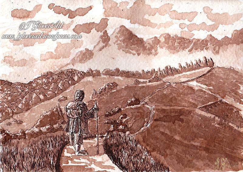 the road goes ever on ink drawing josh glover lotr art illustration bilbo john howe alan lee