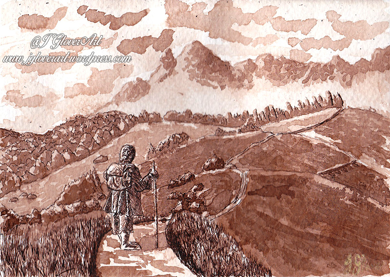 the road goes ever on ink drawing josh glover lotr art illustration bilbo john howe alan lee