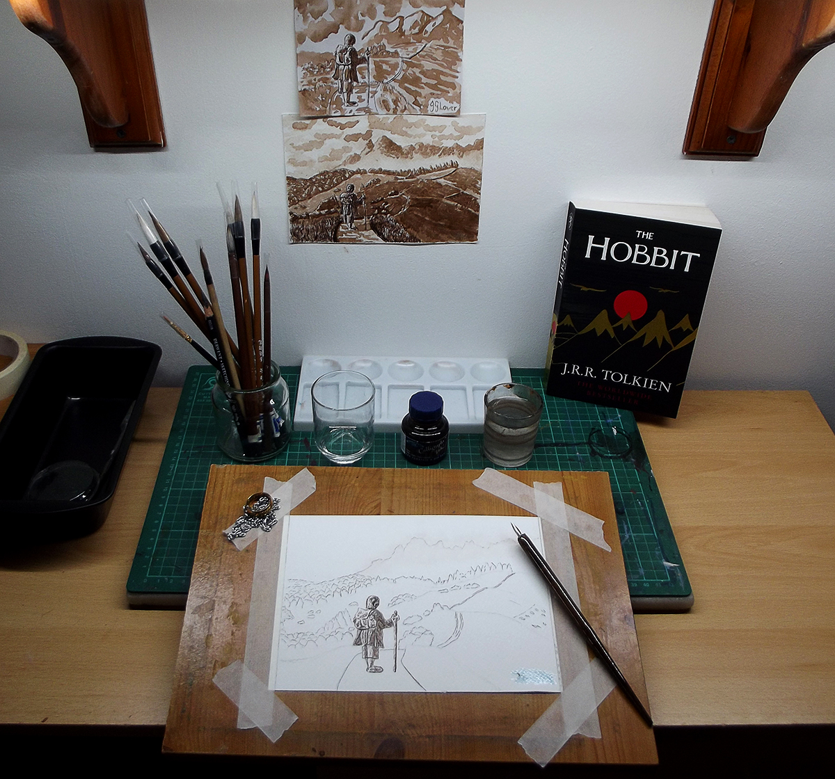 bilbo baggins ink drawing the road goes ever on jrr tolkien hobbit lotr lord of the rings silmarillion