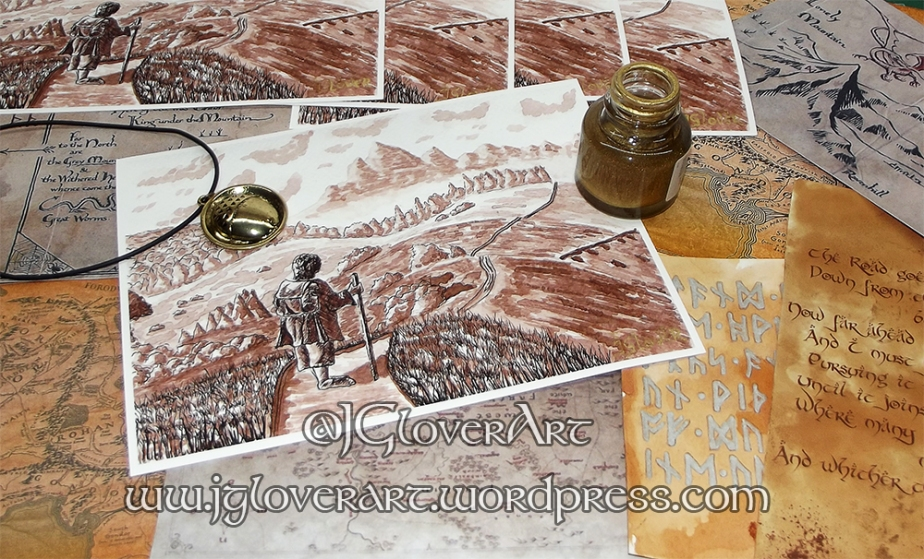 Road Goes Ever On Giclee Print - J Glover Art - Josh Glover - Lord of the rings - the hobbit - print - illustration - fantasy art - calligraphy gold writing