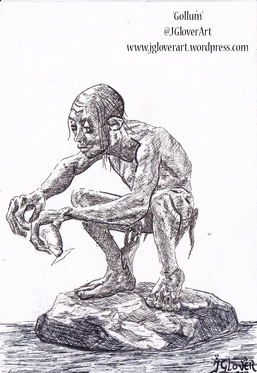 Gollum smeagol jrr tolkien lord of the rings tv series amazon drawing ink illustration concept design andy serkis