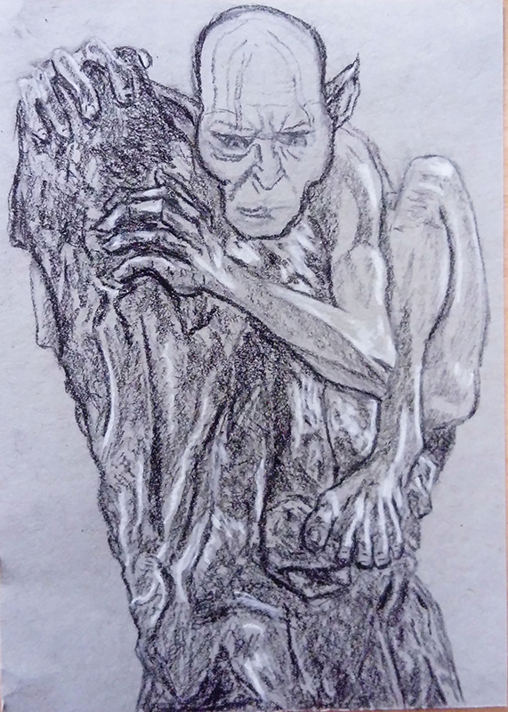 gollum smeagol charcoal sketch drawing oil painting lotr lord of the rings tv series amazon jrr tolkien