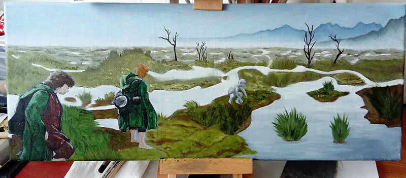 Passage of the marshes dead marshes frodo sam gollum lotr jrr tolkien lord of the rings tv series middle earth art oil painting illustration fantasy art