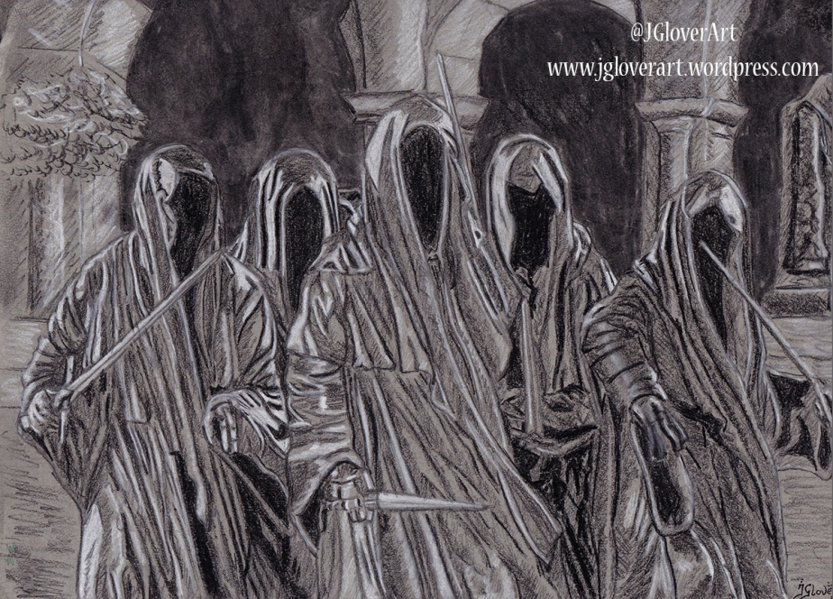 nazgul ring wraith witch king of angmar lotr lord of the rings the hobbit jrr tolkien middle earth horror fantasy art illustration drawing artwork