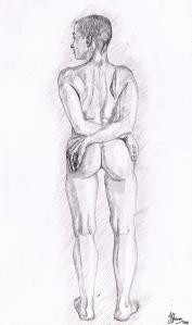 figure study classical drawing atelier art artist illustration female nude form behind anatomy fine art