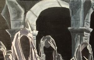 horror dark black nocturneOil painting essex artist illustrator illustration lotr lord of the rings tv series concept art drawing painting nazgul ringwraiths angmar london