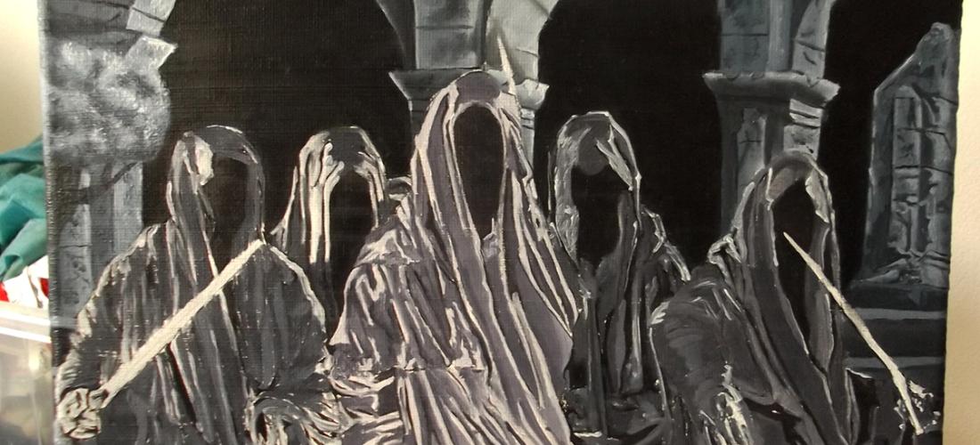 Oil painting essex artist illustrator illustration lotr lord of the rings tv series concept art drawing painting nazgul ringwraiths angmar josh glover jglover art amazon