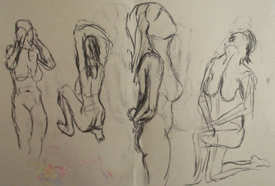 Life Drawing Figure Study Female Nude Reclining Back Behind Rear View Charcoal Josh Glover JGloverArt Gesture