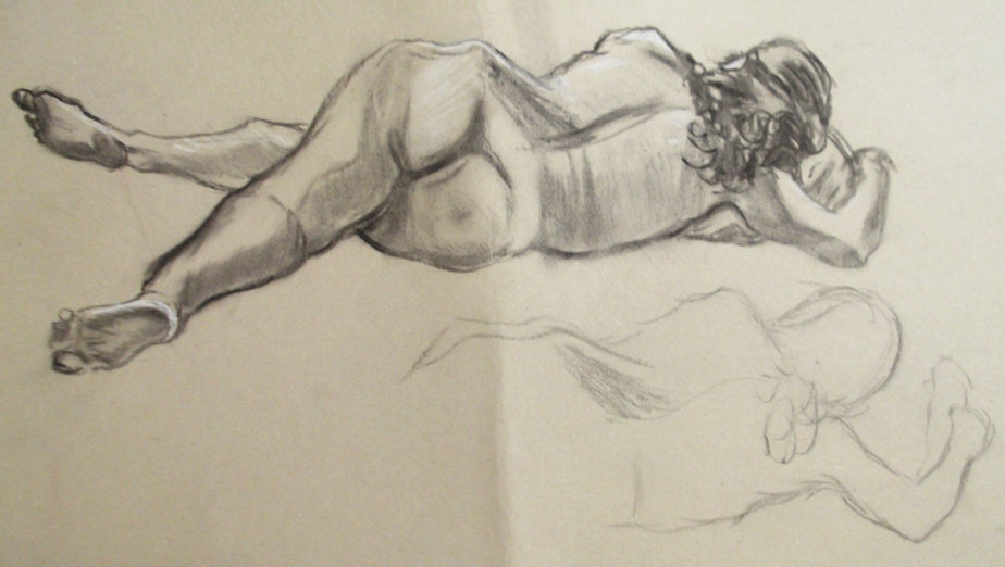 Life Drawing Figure Study Female Nude Reclining Back Behind Rear View Charcoal Josh Glover JGloverArt