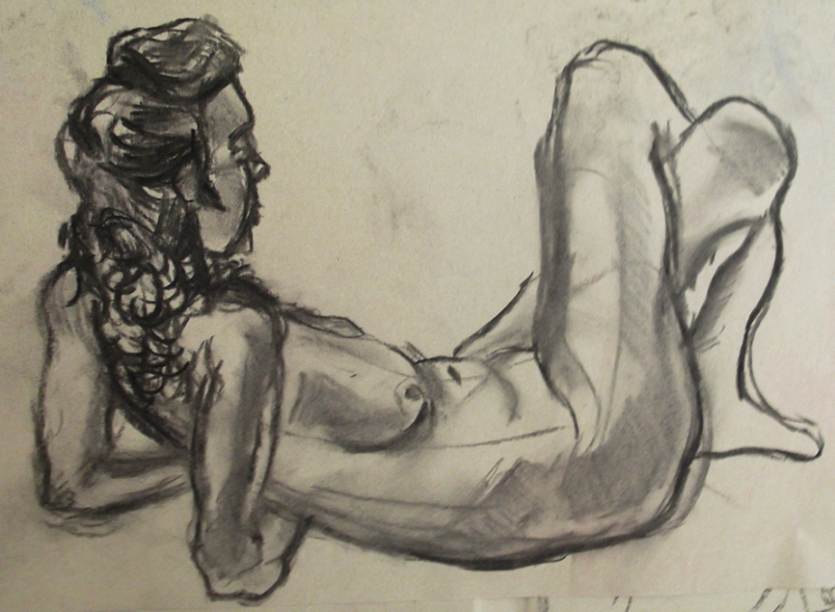 Life Drawing Figure Study Female Nude Reclining Charcoal Josh Glover JGloverArt Essex London