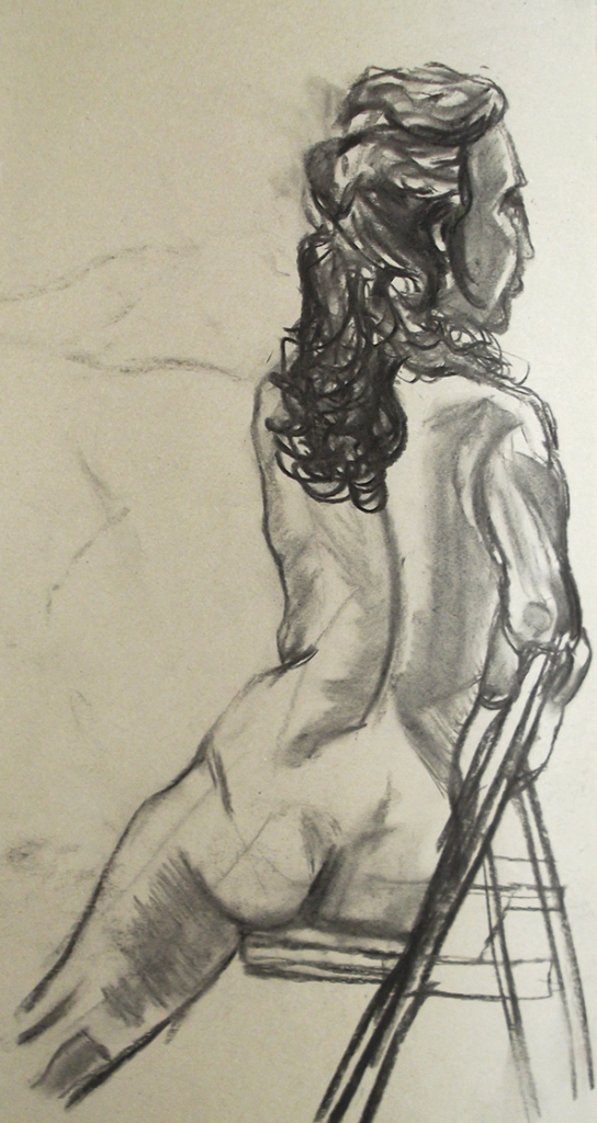 Life Drawing Figure Study Seated Female Nude Charcoal Josh Glover JGloverArt Essex London