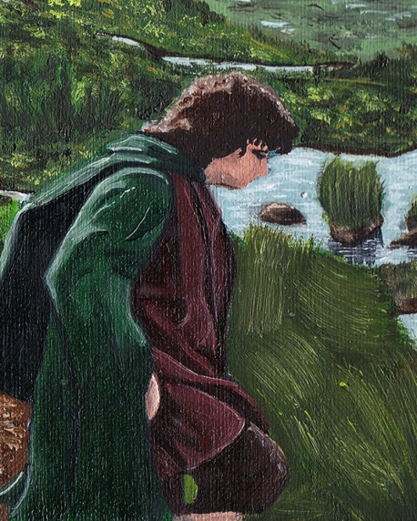 Frodo Baggins passage of the marshes lord of the rings artwork oil painting illustration amazon tv series concept art landscape fantasy
