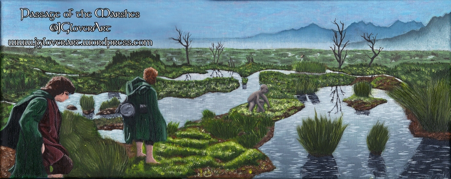 'The Passage of the Marshes' Oil Painting on Canvas – JRR Tolkien The Lord of the Rings Fantasy Art Illustration