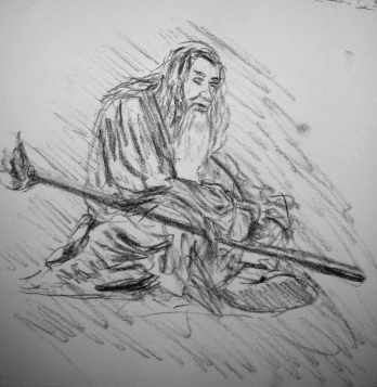 gandalf in moria sketch 5